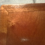 Close up of locker hatche post varnish