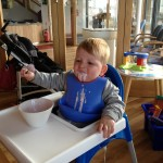 Thomas 'enjoying' his iced cream at Harwich Yacht Club