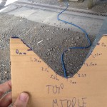Cardboard template with depth graduations