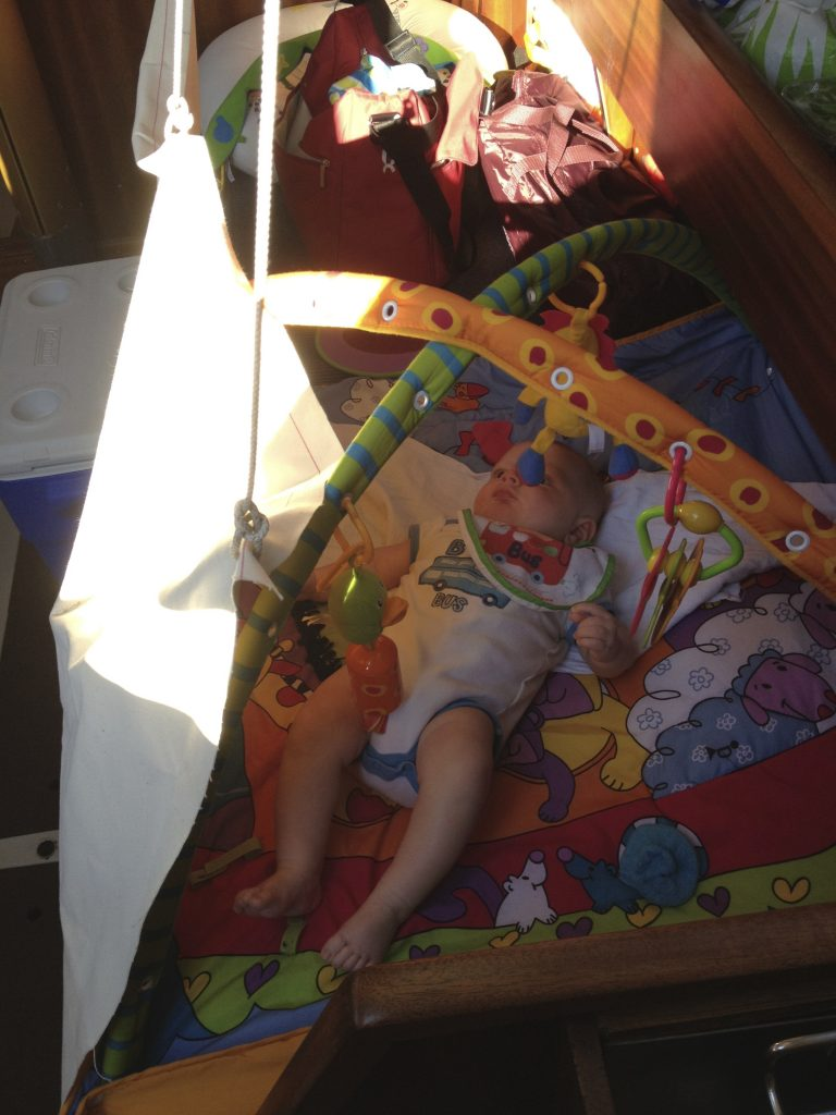 Lee cloth play pen on the Starboard bunk