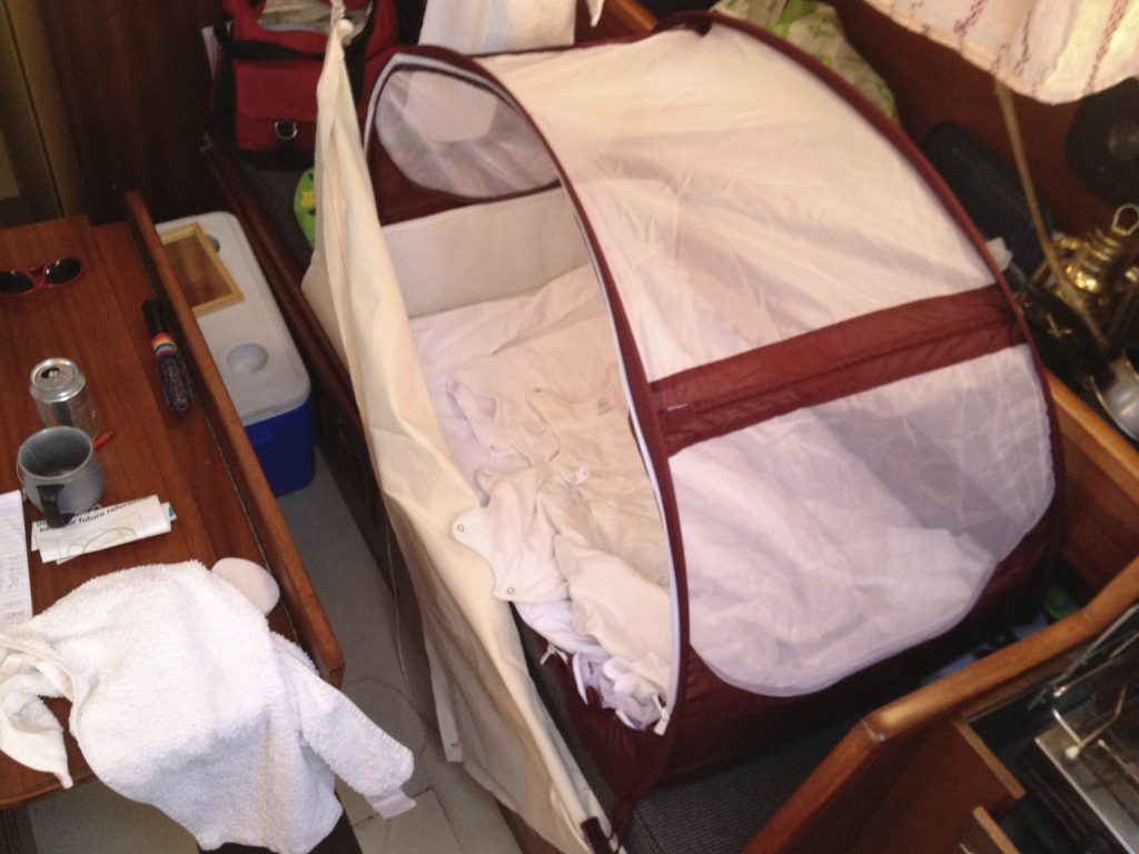 The cot all set up behind its lee cloth
