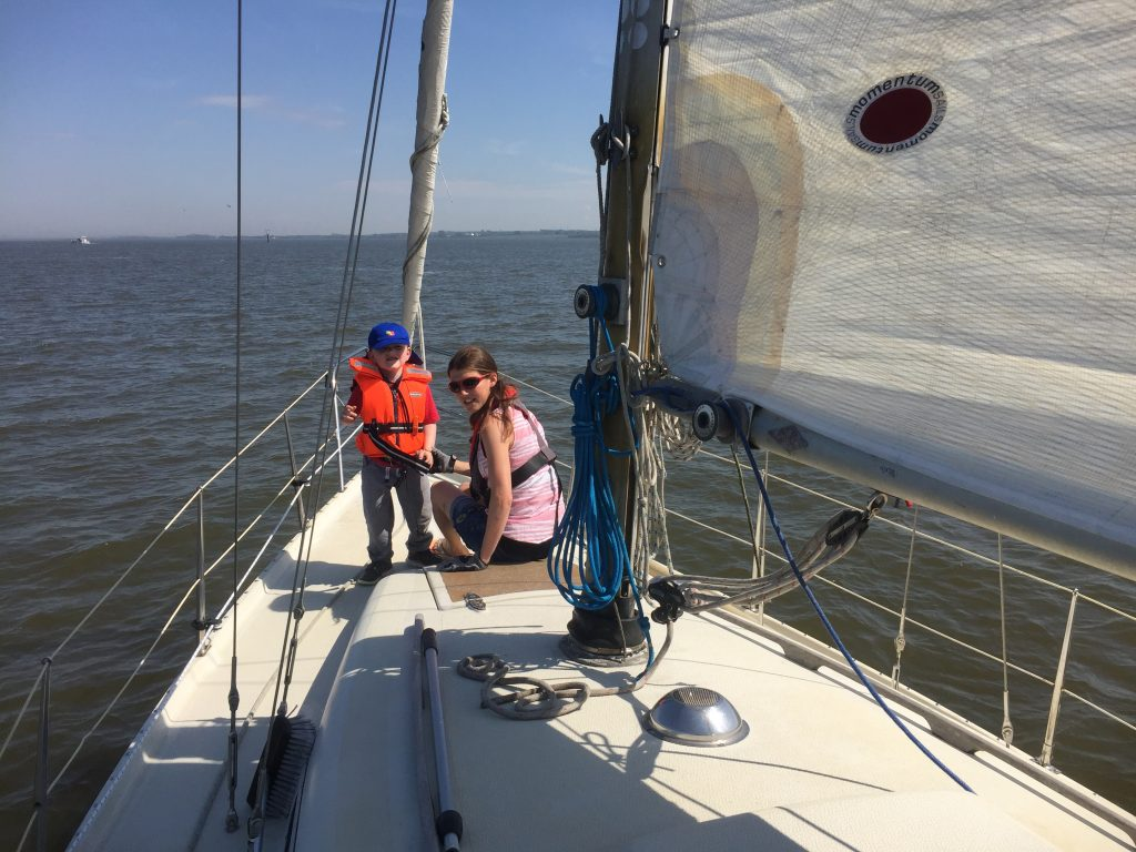 Spotting bouys on the foredeck