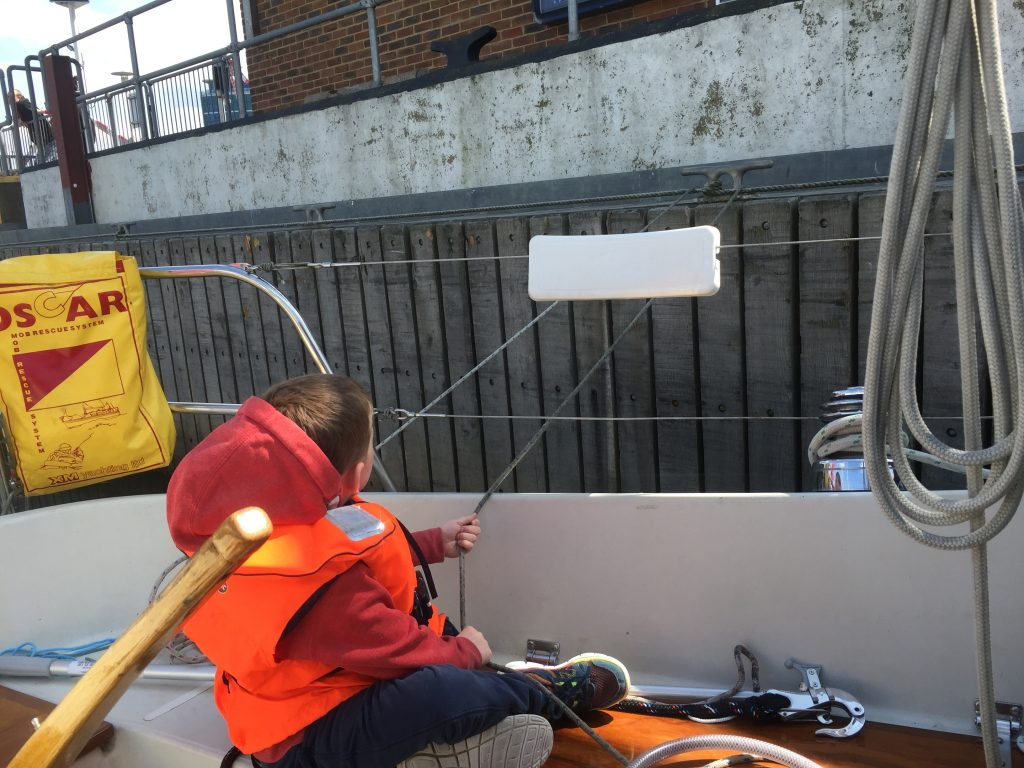 Manning the lines in Chatham Lock