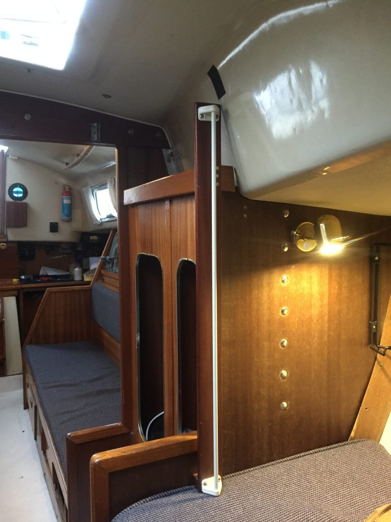 A piece of hardwood joinery was made up to give the required height to the port bulkhead