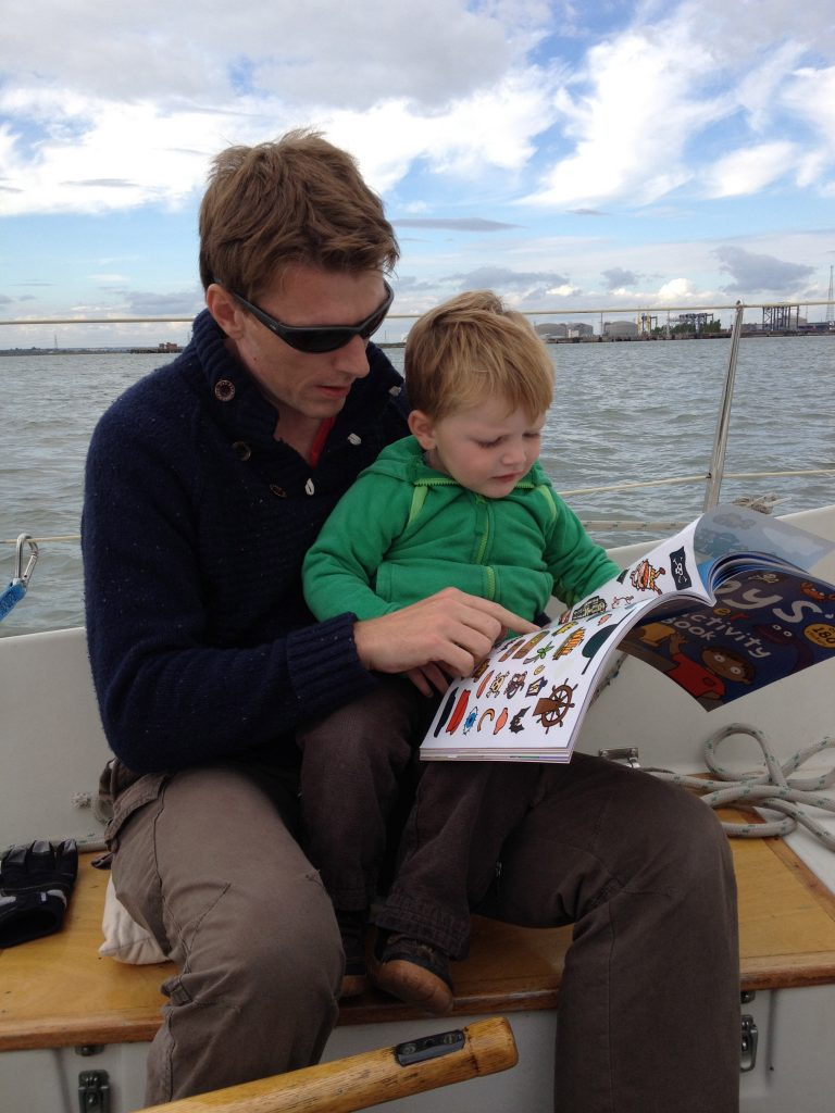 Sailing down the Medway doing stickers when Thomas was a bit younger