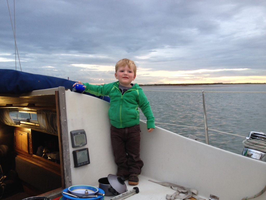 At anchor in Sharfleet creek playing with his cars