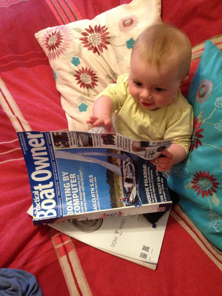 Sophie enjoying a questionable publication!