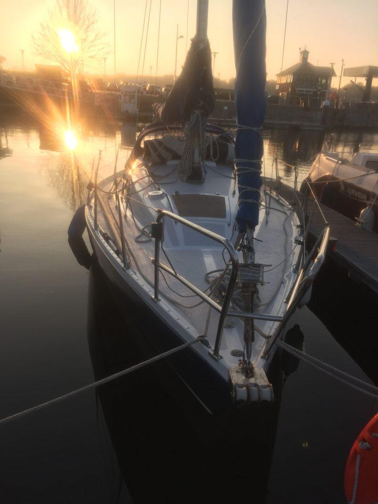 Shiny deck at sunset